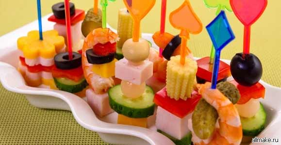 канапе на вилочках рецепты с фото